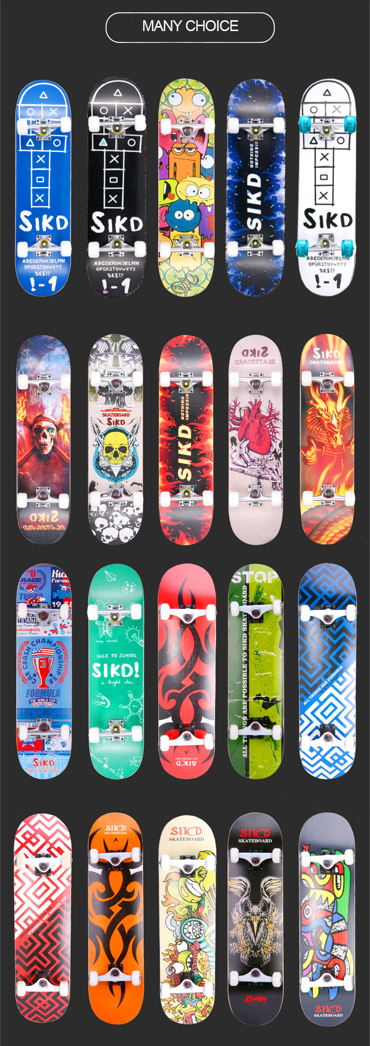 Normal quality chinese maple skateboard with LED wheels kids skateboards