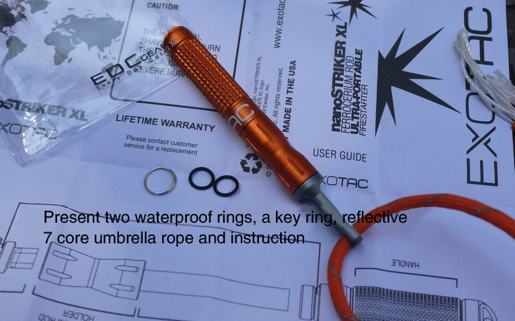Fully Waterproof Flint Spark Rod Fire Stick Attached Tungsten Steel