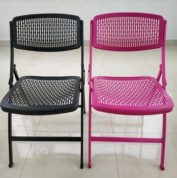 durable black metal mesh office folding chair
