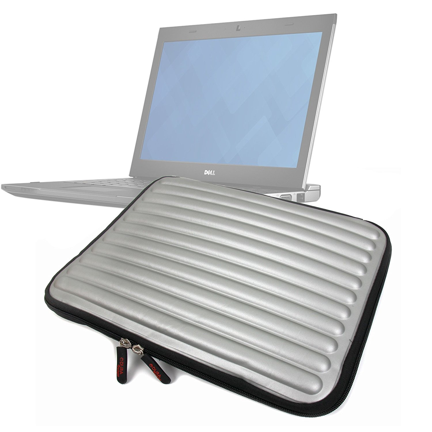 """DURAGADGET Shock-Absorbing, Water-Resistant, Protective Memory Foam Laptop Case in Silver for Dell Latitude 13.3"""", XPS Duo 12 & XPS 13 Ultrabook"""