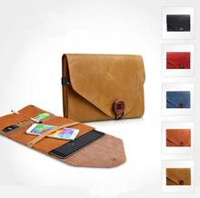 Durable genuine leather cover case with card holders for ipad and phones
