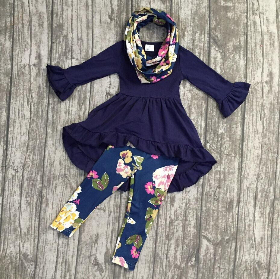 Fall/winter 3 pieces scarf top baby girls outfits pant boutique children clothes navy ruffle flower floral dress top kids wear