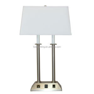 Polished Nickel E26 sockets Table Lamp with one convenience outlet