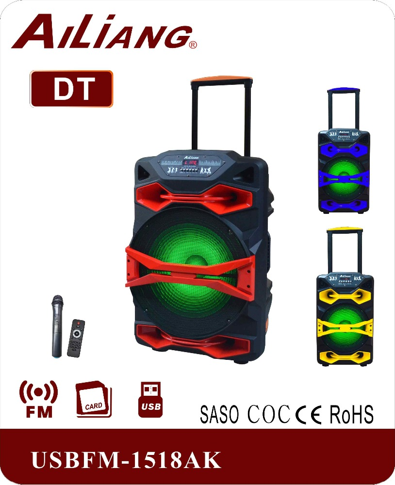 2017 new bluetooth big power double 15 inch 100W trolley speaker with battery UF-1518AK-DT