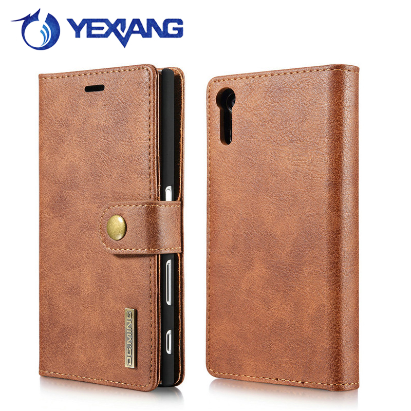 many card slots magnetic leather case for sony xperia xz flip cover double fold