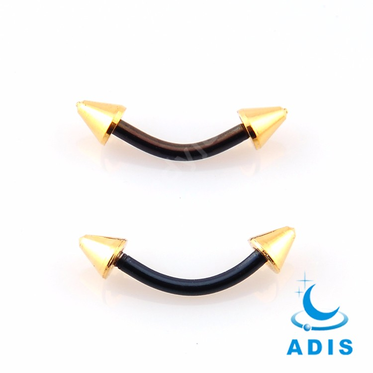 Surgical Steel Micro Banana Black Gold Cheap Eyebrow Rings