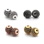 8mm crystal ball loose findings for bracelet accessories fashion round metal beads for jewelry making custom logo beads spacers