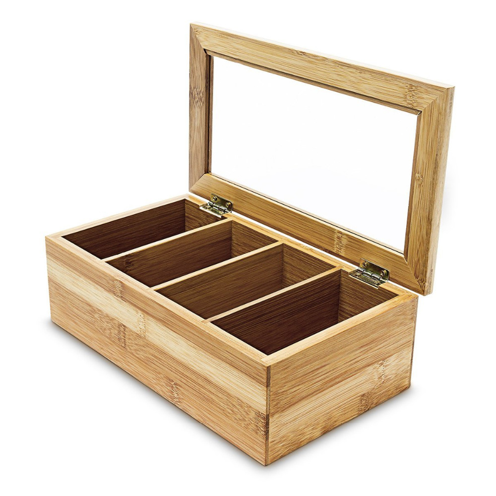 High Quality Wood Tea Bag Holder Box With Acrylic Lid 5