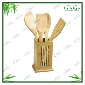 4 pcs Natural bamboo utensil holder with utensils