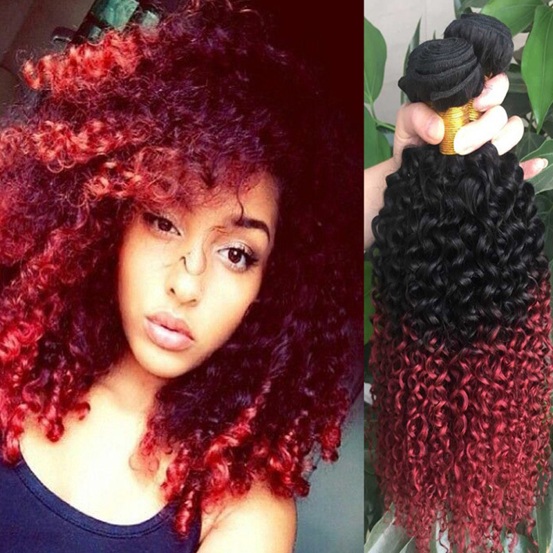 Red Brazilian Curly Ombre Hair Extensions 1b Burgundy Two