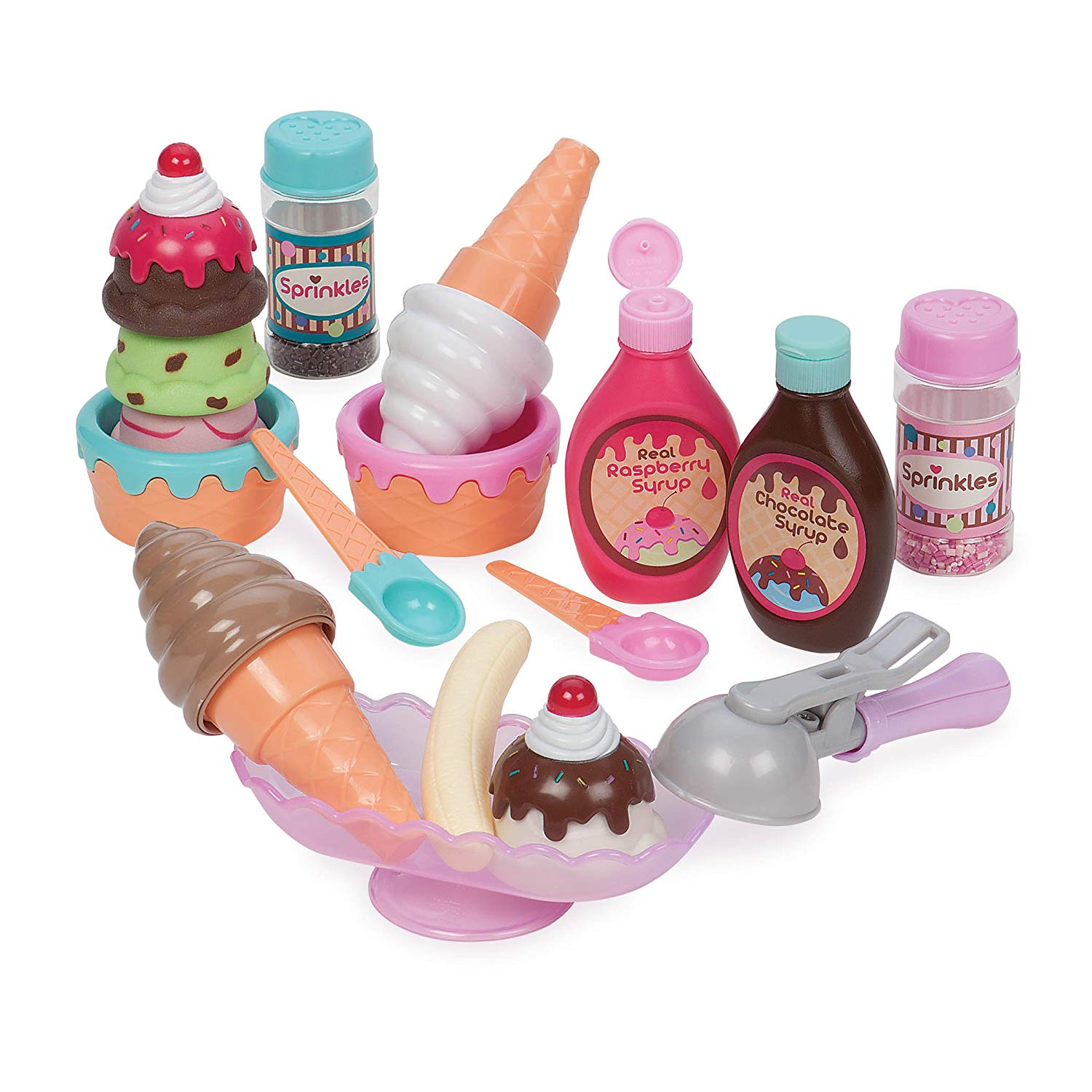 Play Circle by Battat – Sweet Treats Ice Cream Parlour – 21-piece Pretend Ice Cream Set Kids – Pretend Play Food Sets Toddlers Age 3 Years Up