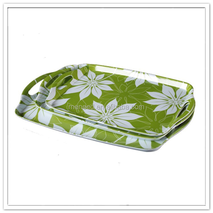 Hot style green design melamine plastic tray with handle