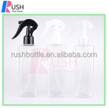250ml transparent square bottle hair body shampoo cosmetic with mini trigger sprayer