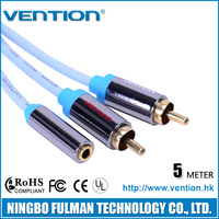 Vention Y RCA Cable 3.5mm Female to 2 RCA Jack Extension Cable 5m 15ft