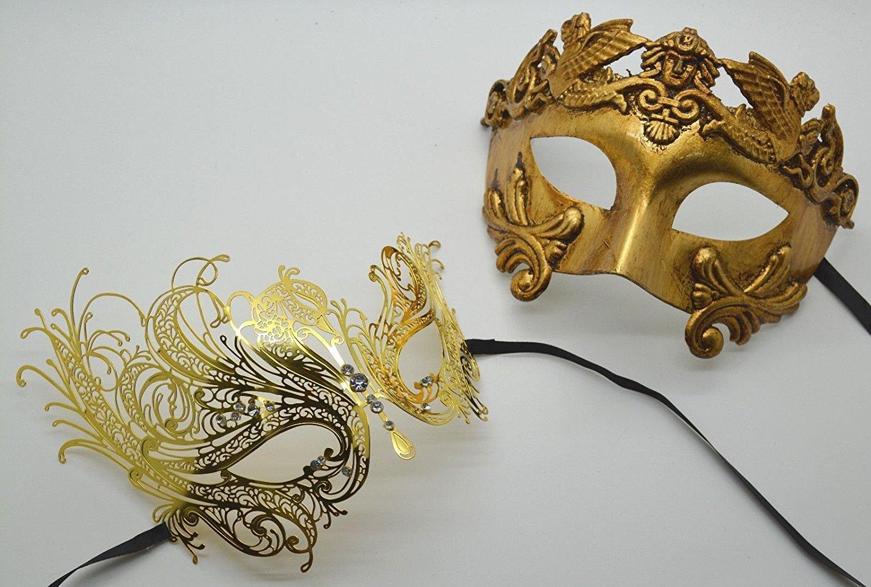 Roman Greek God Goddess Set - His & Hers Sexy Masquerade Masks Antique Gold