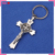 Key chain St. Benedict metal crucifix key chain shiny split key ring clip cross key holder