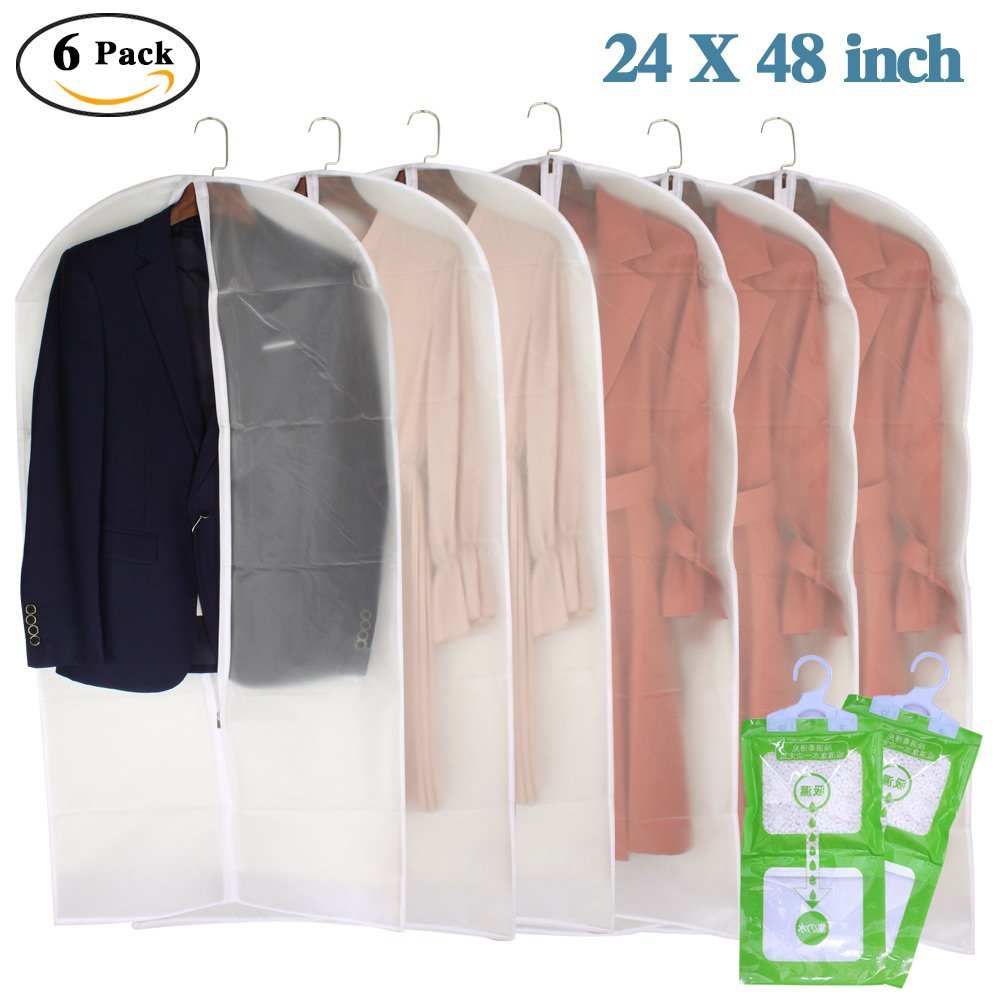 Clear Garment Bags 24''×48'' Full Zipper Moth Proof Garment Covers with Moisture proof Desiccant Bags for Clothes Storage Suits Dresses Dance