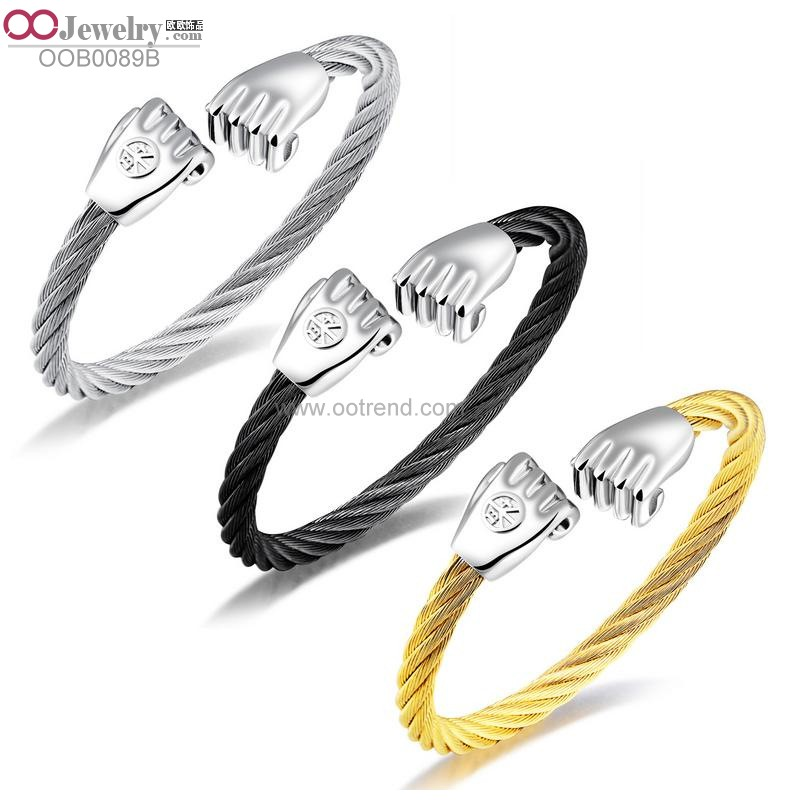 fist design stainless steel 316L cable wire expandable bangle for men