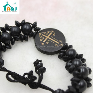 Religious cross wooden beads bracelet bangles