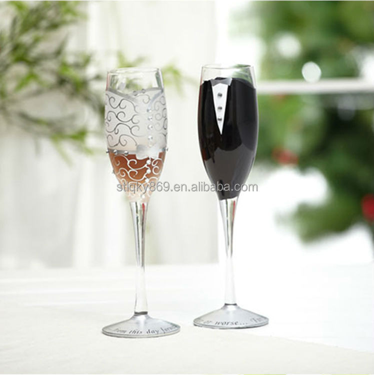 Bridegroom Bride Painting Thin Glass Cup Tall And Thin Drinking