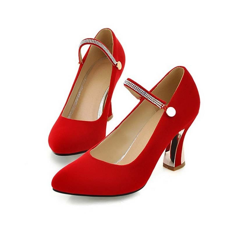 SAA4488 Lady pumps shoes fashion latest red black fancy thick heel pointed toe ladies high heel shoes