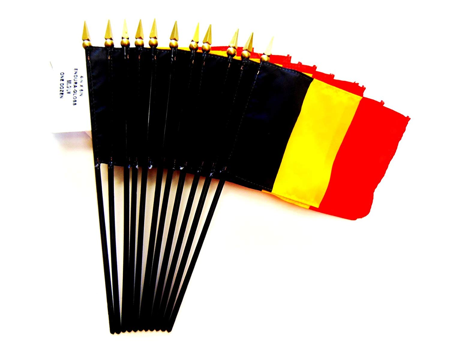 "MADE IN USA!! Box of 12 Belgium 4""x6"" Miniature Desk & Table Flags; 12 American Made Small Mini Belgian Flags in a Custom Made Cardboard Box Specifically Made for These Flags"