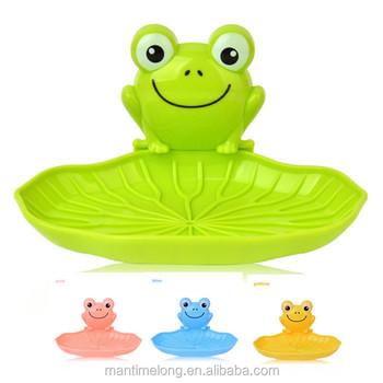 Cute Frog Wall Mounted Soap Dish Organizer With Sucker Kids Bathroom