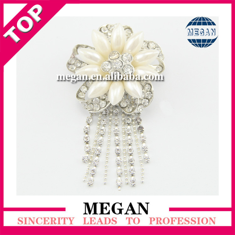 Fashion flower bridal rhinestone brooch with hanging magnetic hijab pins