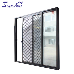 Black aluminium frame sliding door with security grill for safety