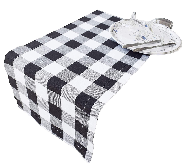 Buffalo Check Table Runner 108 inch in 100% Cotton Fabric,Plaid Check Table Runner,Farmhouse Table Runner,Rustic Bridal Shower Decor Table Runner,Wedding Table Runner-14x108 Black/White, Set of 2