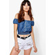 Wholesale Women Clothing Button Front Off The Shoulder Denim Gypsy Top