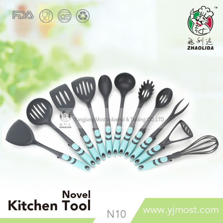 fashion design nylon kitchen tools with colorful plastic handle kithen utensils(BLUE)