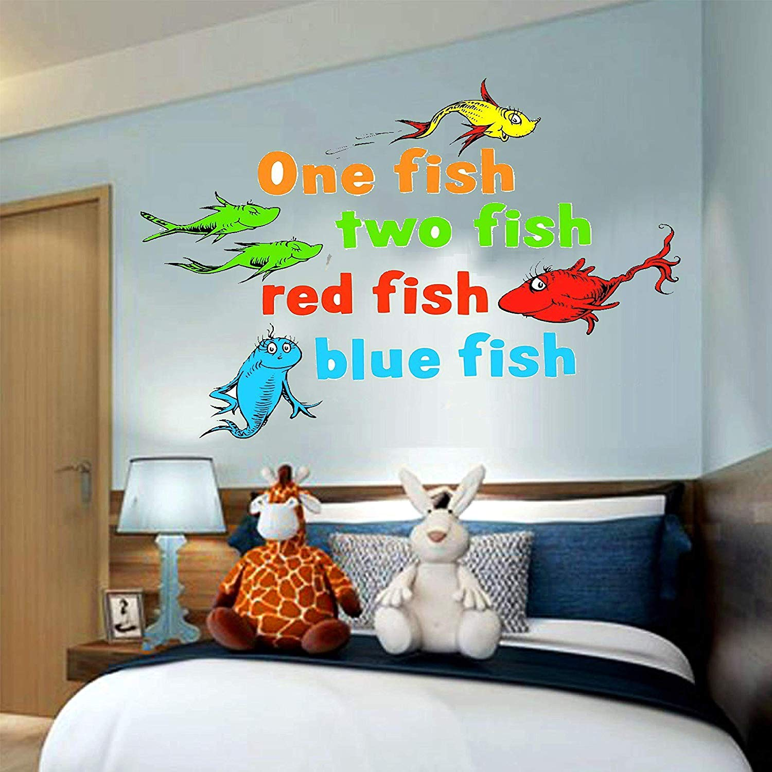 "One Fish Two Fish Dr. Seuss The Lorax, truffula tree, 3D Window View Decal Graphic WALL STICKER Art Mural 18"", 24"", 36"" or 52"""