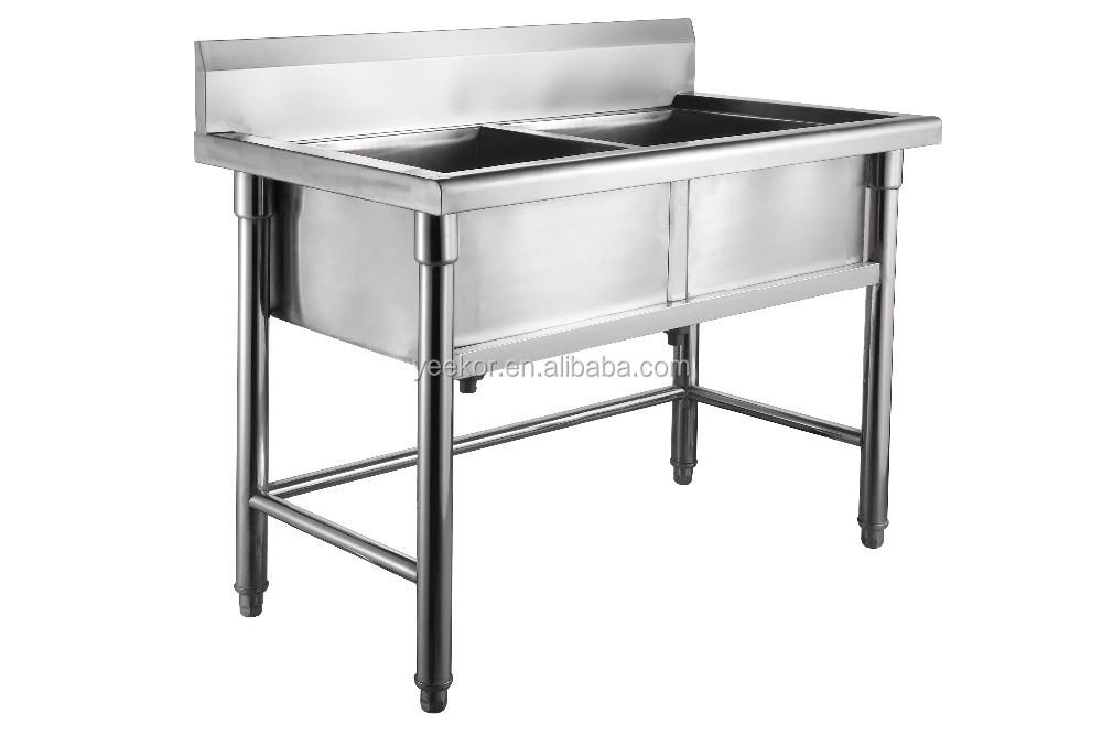 Roestvrijstalen keuken aanrecht met dubbele kom wastafels en