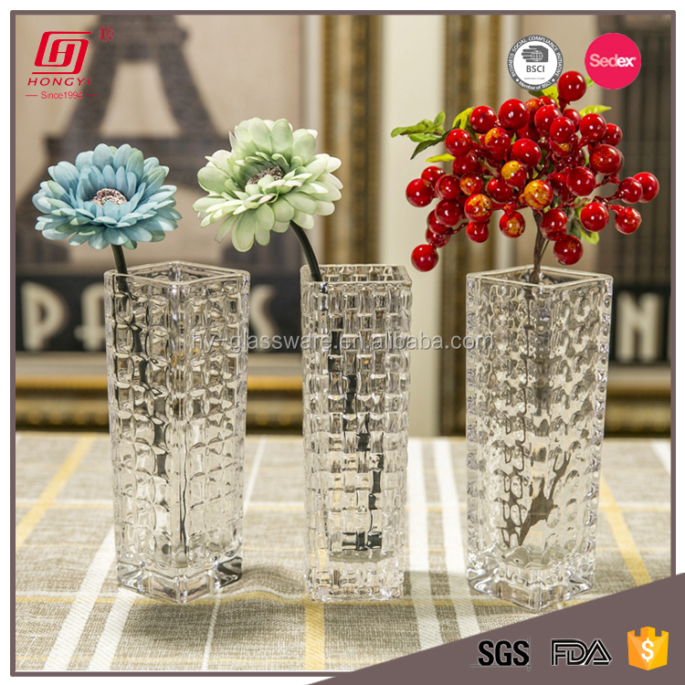 machine pressed cheap clear glass flower vases