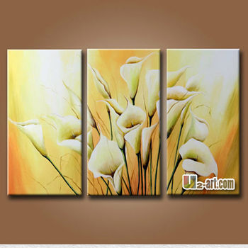 Modern Decoration 3 Panel Canvas Wall Art Flowers Painted On Canvas ...