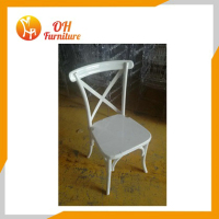 white PP cross back chair plastic chairs from Qingdao