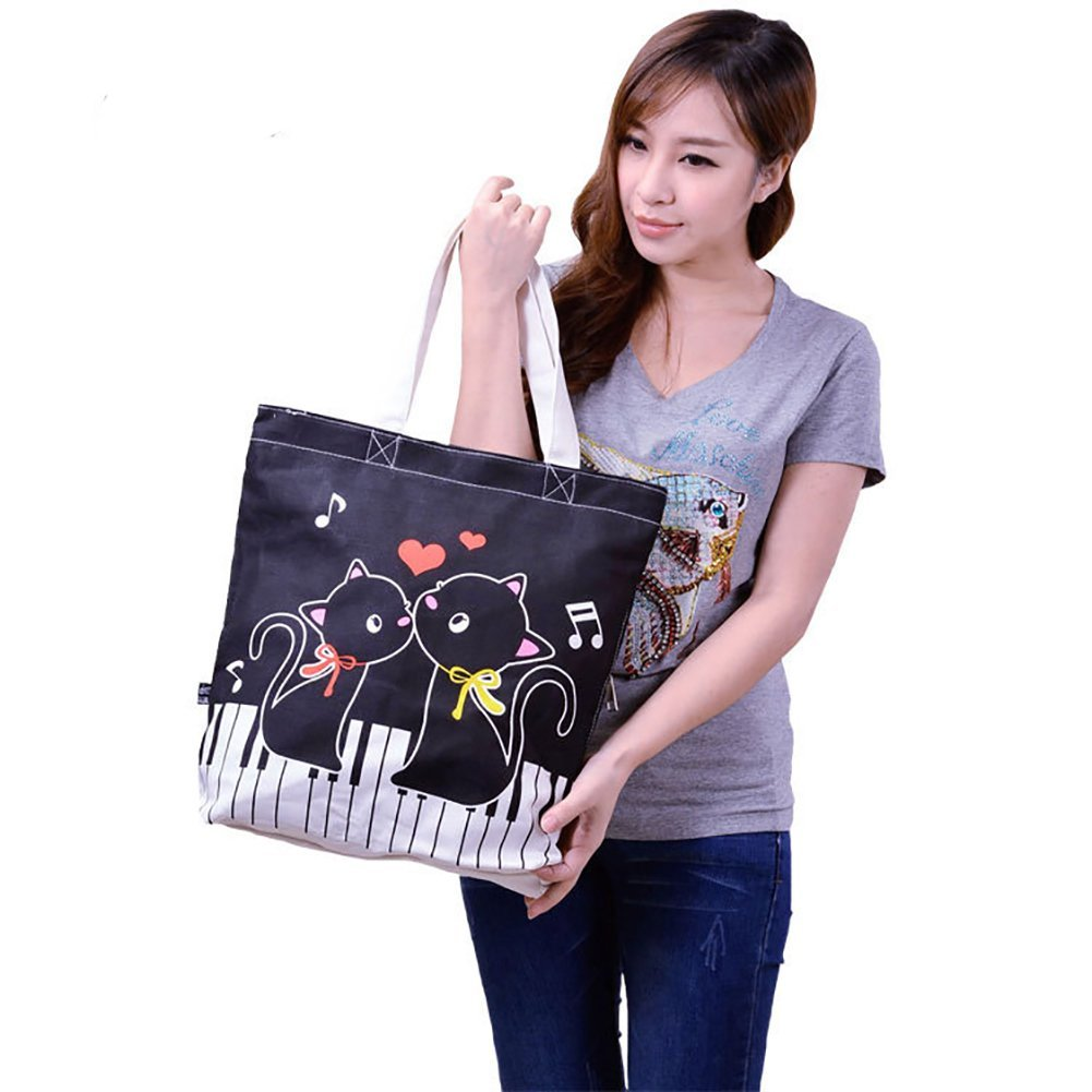 Lehope Women Girl's Music Symbol Cotton Canvas Tote Shopping Handbags with A Free Music Key Chain (Pet black)