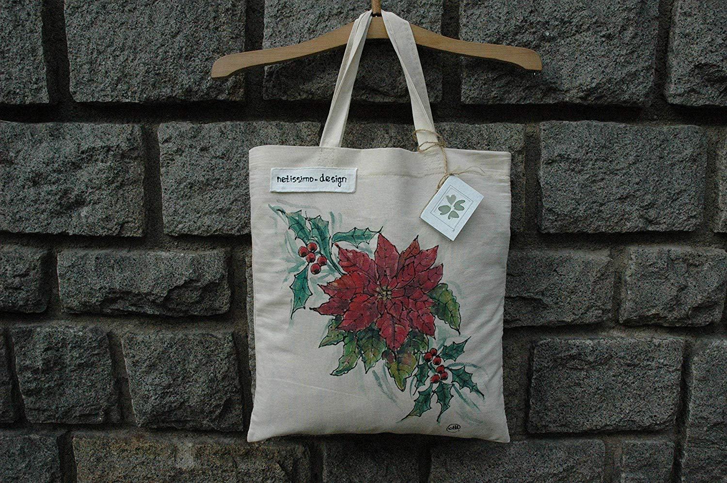 Sale!!!15% Off,Christmas gift Mom,Hand Painted Canvas Bag,Christmas Tote Bag,Christmas Shopping Bag,Cotton tote bag,Christmas Gifts Bags,Birthday gift Bag,White Bag,Woman Gifts,Christmas Poinsettia.