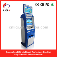dual screen bill validator self service payment kiosk with eye-catching color