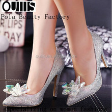 women high heel elegant dress shoes flower bridal white high heels PZ3842
