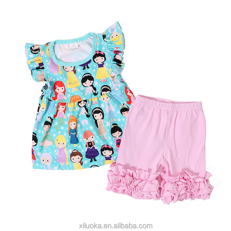 Milk silk princess wholesale clothing ruffle shorts outfits kids clothes set