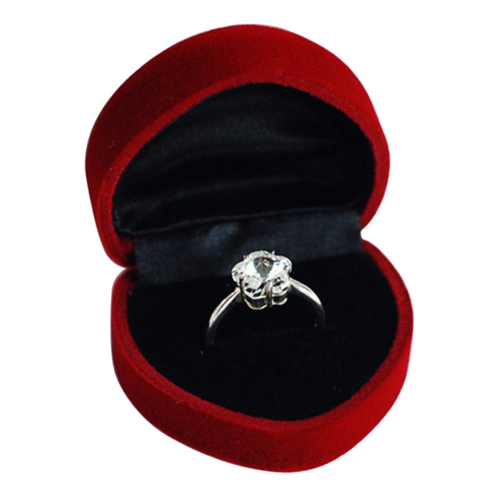 Rose Love Heart Design Wedding Ring Box Jewelry for Party,Ring Display Packaging Gift Velvet Retail Jewelry Package Case