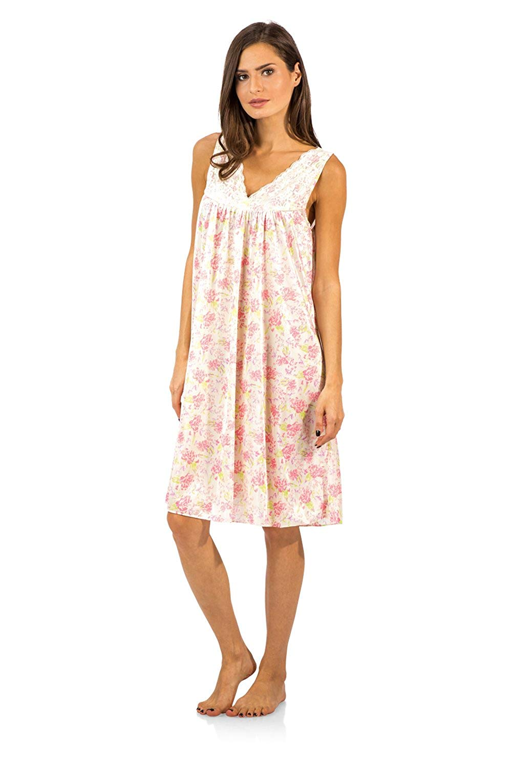 86b6accfdbce Get Quotations · Casual Nights Women s Flower Tricot Sleeveless Nightgown