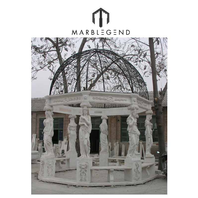 Open Domed Roof marble gazebo with Heavy Carvings