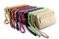 Double zipper multifunctional faux leather wristlet wallets