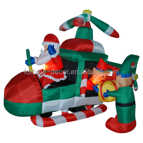 150cm/5ft polyeater christmas santa flying a plane with Afo carrying the giftbox air blown holiday decoration