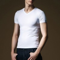 ATS178 Wholesale Mens White Cotton/ Spandex Sports Gym t shirts