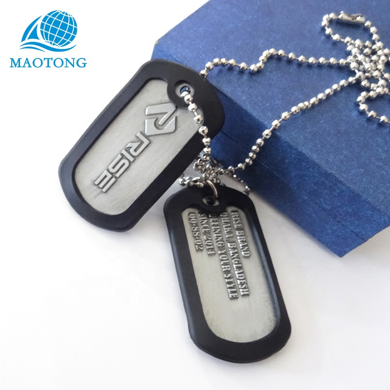 Wholesale Custom logo printed metal aluminum alloy military dog tag with your logo
