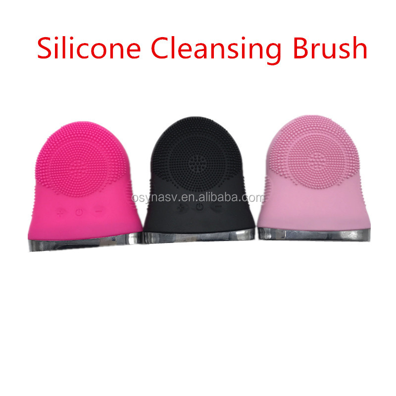 Silicone Facial Cleaning Brush Pink Black Rosered Color Silicone Brush Cleanser Cleansing Electric Facial Massager Brush